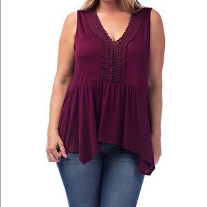 Tops - 🔴 Burgundy Sleeveless Plus Size Top